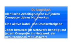 Voraussetzungen für den gemeinsamen Zugriff auf Dateien im eigenen Netzwerk / Heimnetzwerk