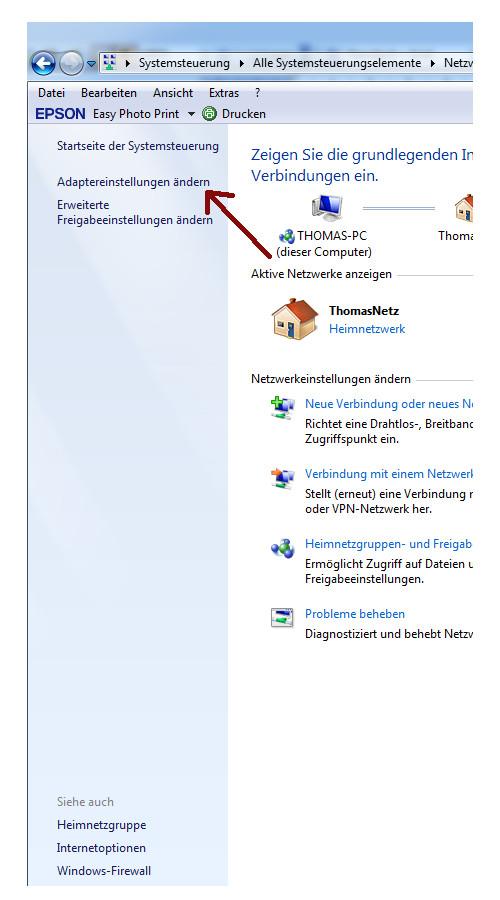 Heimnetzwerk Anleitungen: Feste IP-Adressen vergeben - Netzwerk- und Freigabecenter Menüpunkt Adaptereinstellungen ändern