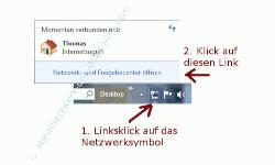 Heimnetzwerk Anleitungen: Feste IP-Adressen vergeben - Netzwerk- und Freigabecenter über die Taskleiste öffnen