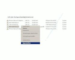 Netzwerk-Anleitung: Netzwerkkarte Netzwerkadapter einrichten und konfigurieren - Kontextmenü Netzwerkverbindung Eigenschaften