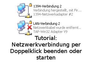 Netzwerkverbindung per Doppelklick beenden oder starten