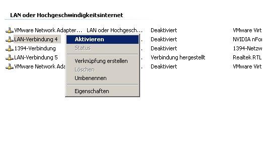 Netzwerk-Tutorial: Netzwerkverbindung anzeigen, umbenennen, aktivieren oder deaktivieren – Verbindung aktivieren
