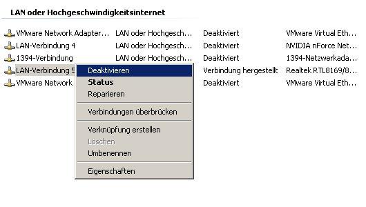 Netzwerk-Tutorial: Netzwerkverbindung anzeigen, umbenennen, aktivieren oder deaktivieren – Verbindung deaktivieren
