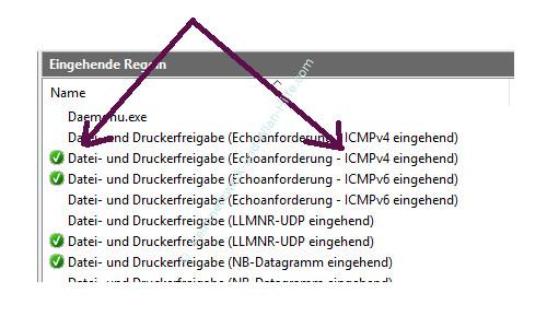 Ping-Anfragen in der Windows Firewall zulassen –Die eingehende Firewall-Regel – Datei- und Druckerfreigabe Echoanforderung icmpv4 aufrufen