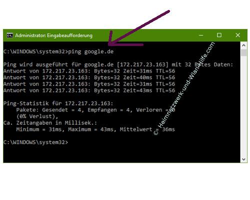 Ping-Anfragen in der Windows Firewall zulassen – Der Ping-Befehl an eine Webadresse
