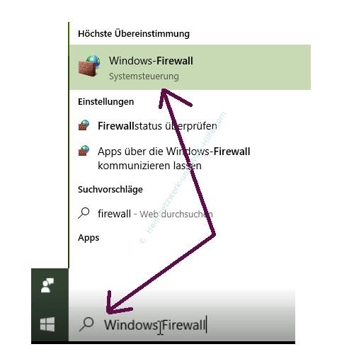 Ping-Anfragen in der Windows Firewall zulassen – Die Windows Firewall über die Suchfunktion aufrufen