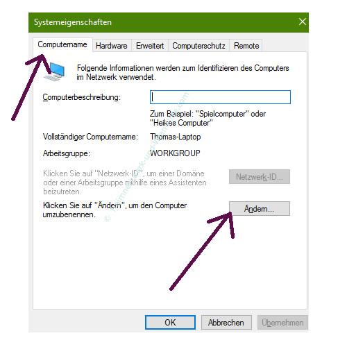 Mit Ping und Ipconfig Ursachen für Probleme im Netzwerk finden – Das Register Computername im Fenster Systemeigenschaften