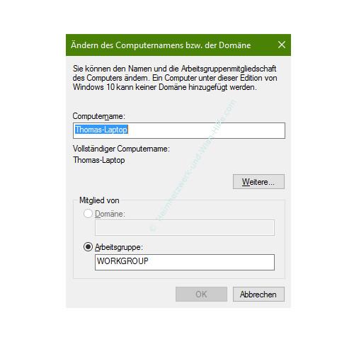 Mit Ping und Ipconfig Ursachen für Probleme im Netzwerk finden – Das Konfigurationsfenster zum Ändern des Computernamens