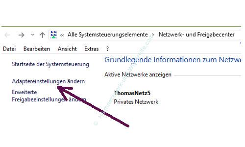 Mit Ping und Ipconfig Ursachen für Probleme im Netzwerk finden – Der Link Adaptereinstellungen ändern im Netzwerk- und Freigabecentern