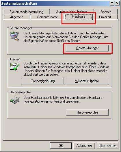 Netzwerk-Tutorial: Windows XP Gerätemanager - Netzwerkkarte installieren und Netzwerkkarteninstallation prüfen - Fenster Systemsteuerung - Register Hardware - Button Geräte-Manager
