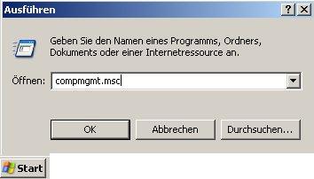 Anleitung: Benutzerkonto einrichten unter Windows XP Vista - Eingabe von compmgmt.msc in das Eingabefeld