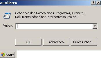 Anleitung: Benutzerkonto einrichten unter Windows XP Vista - Fenster Ausführen mit Eingabefeld