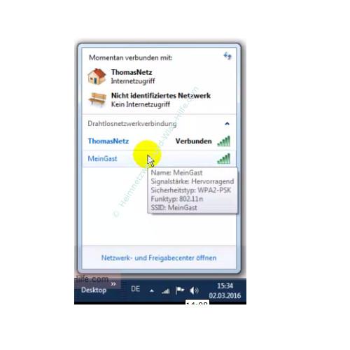 TP-Link Archer VR900v: Ein Wlan-Gastnetzwerk konfigurieren – Das aktive Gastnetzwerk in der Liste der vorhandenen Wlan-Netzwerke
