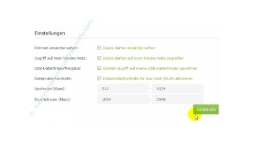 TP-Link Archer VR900v: Ein Wlan-Gastnetzwerk konfigurieren – Die geänderten Gastnetzwerk Einstellungen speichern