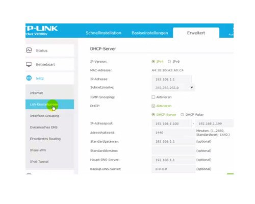 TP-Link Archer VR900v – Konfigurationsmenü Menüpunkt LAN-Einstellungen – DHCP-Server