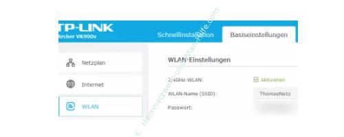 TP-Link Archer VR900v – Konfigurationsmenü Menüpunkt Wlan