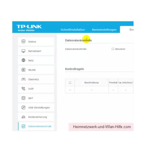 TP-Link Archer VR900v: Ein Wlan-Gastnetzwerk konfigurieren – Die Option Datenratenkontrolle