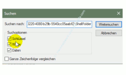 Windows 10 - Gesperrte Registry-Einträge mit Regownershipex ändern – Der Suchen Dialog in der Registry