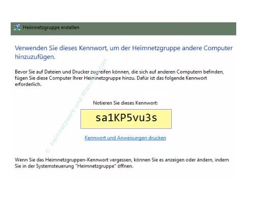 Eine Heimnetzgruppe erstellen – Assistent Heimnetzgruppe erstellen, Anzeige des Heimnetzgruppenkennworts