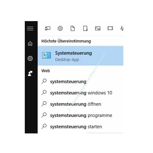 Windows 10 – Das Startmenü, Cortana und Virtuelle Desktops – Cortana Suche nach der Systemsteuerung