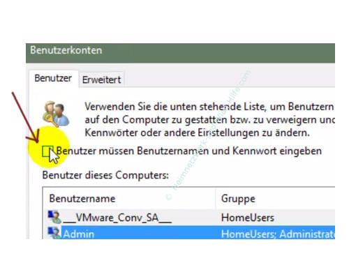 Die automatische Aktualisierung der Win 10 Apps aktivieren oder deaktiveren – Die deaktivierte Benutzerkonten Option, Benutzer müssen Benutzernamen und Kennwort eingeben
