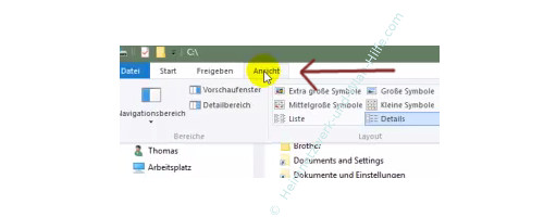 Alle Dateien im Windows Explorer anzeigen lassen – Explorer, Menü Ansicht