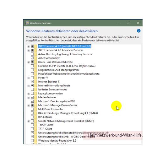 Weitere Features und Funktionen von Windows 10 freischalten – Das Konfigurationsfenster Windows Features