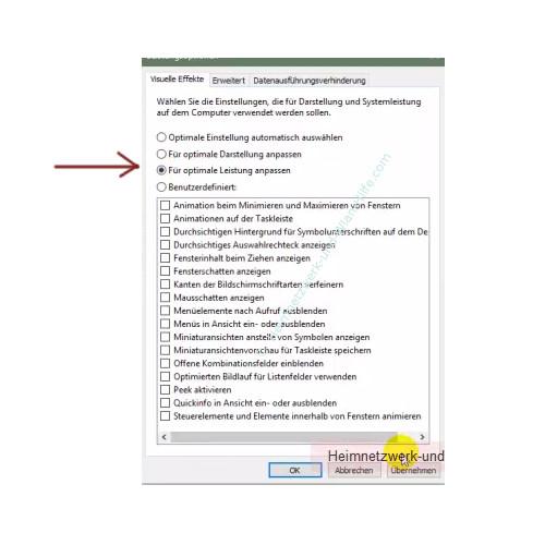 Die Leistungsoptionen von Windows anpassen – Leistungsoptionen: Für optimale Leistung anpassen
