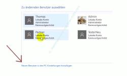 Die neue Benutzerverwaltung – Link: Neuen Benutzer in den PC-Einstellungen hinzufügen