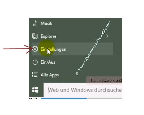 Windows 10 - Den Vollbildmodus des Startmenüs aktivieren – Der Menüpunkt Einstellungen im Startmenü
