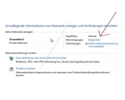 Einer Heimnetzgruppe beitreten – Netzwerk- und Freigabecenter, Zur Heimnetzgruppe beigetretener Computer