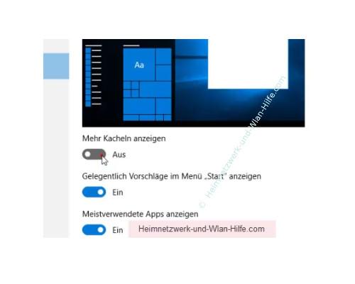 Windows 10 - Die Kachelanzahl im Startmenü von 3 auf 4 erhöhen – Option , Mehr Kacheln anzeigen