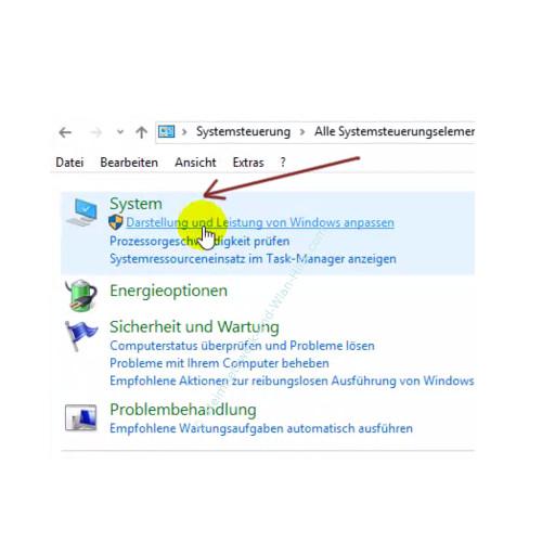 Die Leistungsoptionen von Windows anpassen – Das Suchergebnis System der Systemsteuerung nach dem Begriff Leistung