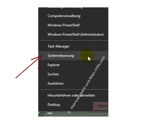 Windows 10 - Tutorial - Überflüssige Schriftarten für ein schnelleres System entfernen – Die Systemsteuerung über das Kontextmenü des Startbuttons öffnen