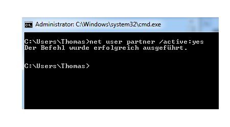 Windows 7 Benutzerkonten schnell aktivieren und deaktivieren - Benutzerkonto aktiviert