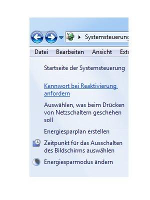 Windows Aleitungen und Tutorials: Reaktivierungskennwort des Windows 7 Ruhezustandes deaktivieren - Windows 7 Energieoptionen Kennwort bei Reaktivierung anfordern