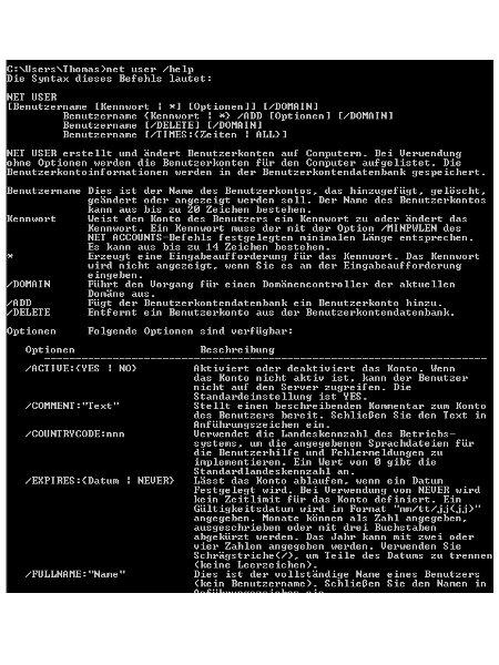 Windows Tutorials: Benutzerkonto mit Systembefehl net user anlegen - Windows 7 Kommandozeile Net User Hilfe