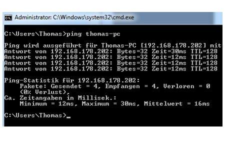 Netzwerk Anleitungen: Aktivität eines Rechners mit dem Systembefehl Ping prüfen - Computer über den Computernamen anpingen
