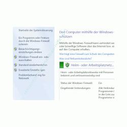 Heimnetzwerk Tutorials: Wichtige Sicherheitskonfigurationen in deinem Computer-Heimnetzwerk - Windows 7 Konfigurationsfenster der Windows Firewall