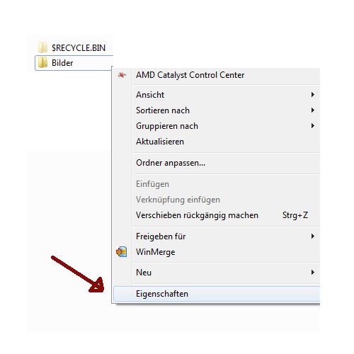 Heimnetzwerk Tutorial: Sichere Windows-Freigaben verwenden - Windows 7 Ordner Kontextmenü - Über den Menüpunkt Eigenschaften die Freigabeoptionen eines Ordners öffnen