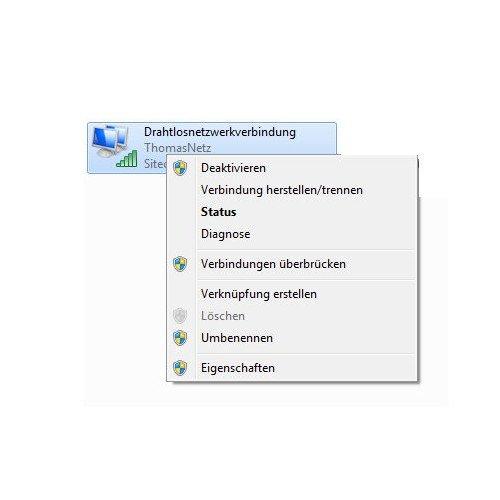 Netzwerk Tutorial: DNS-Serverprobleme beheben - Windows 7 - Kontextmenü Netzwerkadapter - Menüpunkt Eigenschaften