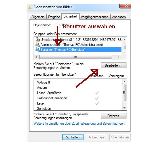 Heimnetzwerk Tutorial: Sichere Windows-Freigaben verwenden - Windows 7 Register Sicherheit - Berechtigungen für einen Benutzer vergeben