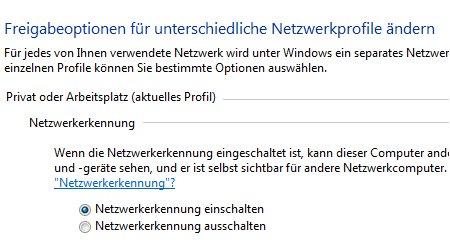 Windows Tutorials und Anleitungen: Windows 7 Berechtigungen konfigurieren - Freigabeeinstellung Option Netzwerkerkennungen