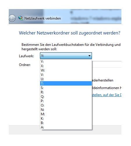 Netzwerk Tutorial: Windows 7 Netzlaufwerke dauerhaft zuordnen - Netzlaufwerksbuchstaben für Freigabe auswählen