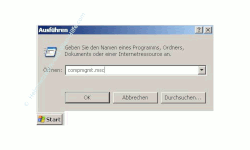 Netzwerk-Anleitung: Windows Passwort über die zentrale Gruppenverwaltung ändern! Start Ausführen - Fenster Ausführen mit Eingabefeld - Eingabe von compmgmt.msc in das Eingabefeld