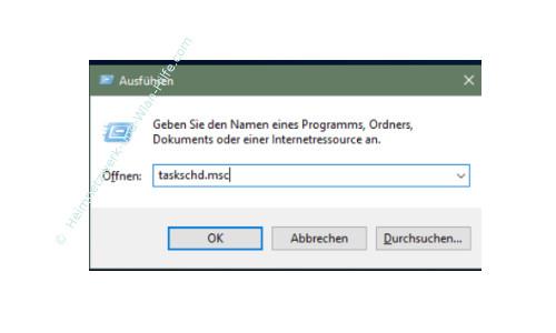 Windows 10 - Mit der Aufgabenplanung Hintergrundaktivitäten aufspüren – Aufruf der Aufgabenplanung mit dem Befehl taskschd.msc