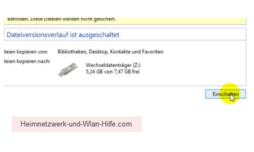 Windows 10 Dateiversionverlauf-Sicherung für das Speichern von Dateien nutzen – Button zum Einschalten des Dateiversionsverlaufes