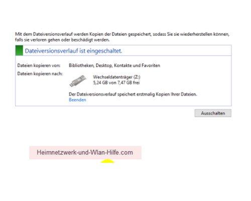 Windows 10 Dateiversionverlauf-Sicherung für das Speichern von Dateien nutzen – Information, dass der Dateiversionsverlauf eingeschaltet ist