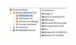 Druckverwaltung Windows 10 – Konfigurationsfenster Druckverwaltung, benutzerdefinierte Filter