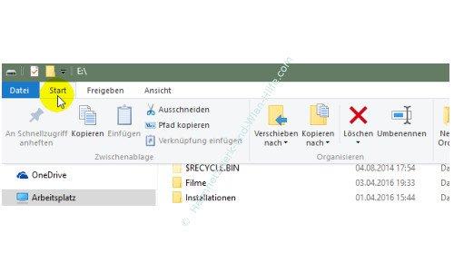 Die neuen Funktionen des neuen Windows 10 Explorers – Menü Start